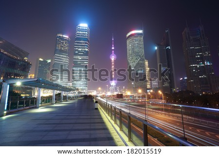 Background night view of Shanghai modern city landmark buildings