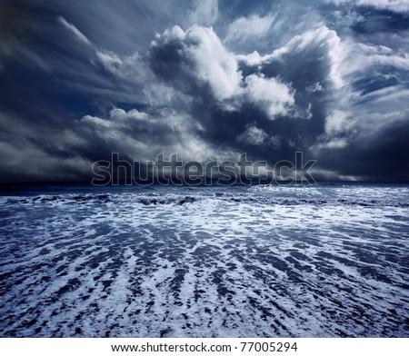 background ocean storm - stock photo