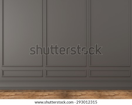 Background of a classic gray wall and wooden parquet - stock photo