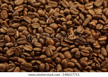 Background of a closeup of a pile of coffee beans