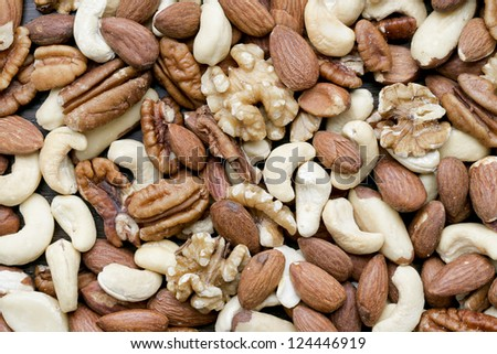 Background of a peeled mixed nuts