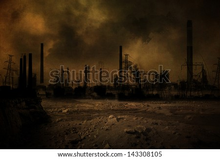 Background of a post apocalyptic scenario - stock photo