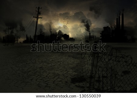 Background of a ruined and polluted industrial city - stock photo