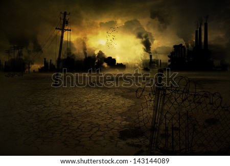Background of a ruined and polluted industrial city