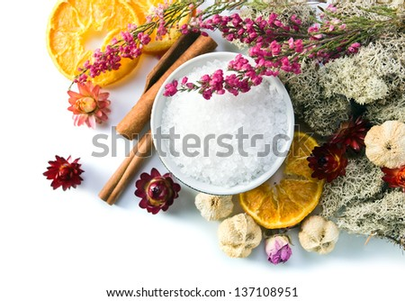 Background of a spa with dried fruits, plants and flowers - stock photo