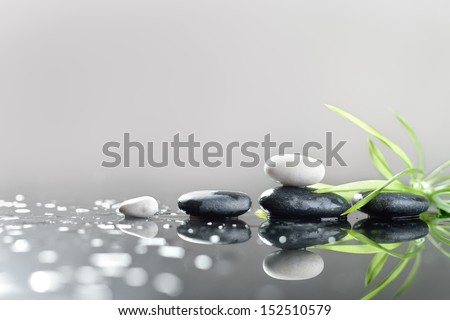 background of a spa with stones, and green leaves - stock photo