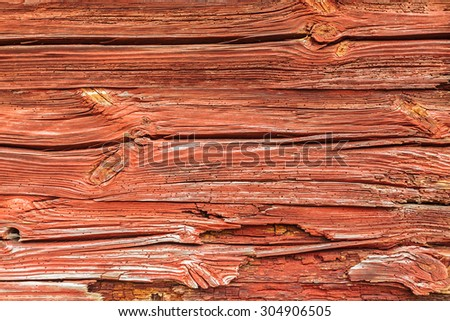 Background of a typical old red painted wooden wall in Sweden - stock photo