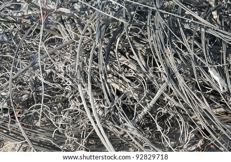 background of aluminum wire for recycling - stock photo