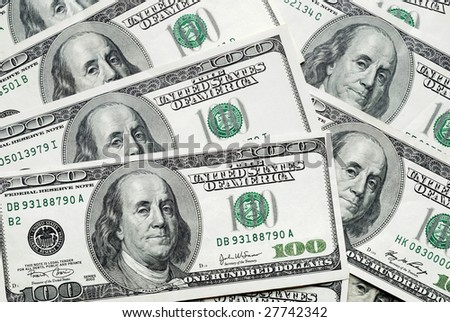 background of american dollars banknote of hundreds