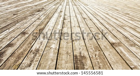 Background of an old natural wood room with messy and grungy floor texture inside empty neglected and deserted interior - stock photo
