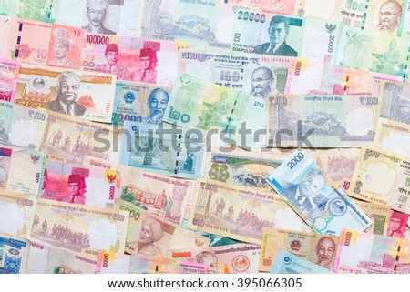 Background of asian currency - stock photo