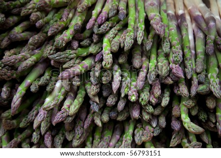 Background of asparagus bunch - stock photo