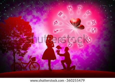 background of astrology and love concept.