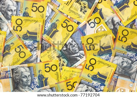 Background of Australian fifty dollar bills.  Full-frame. - stock photo