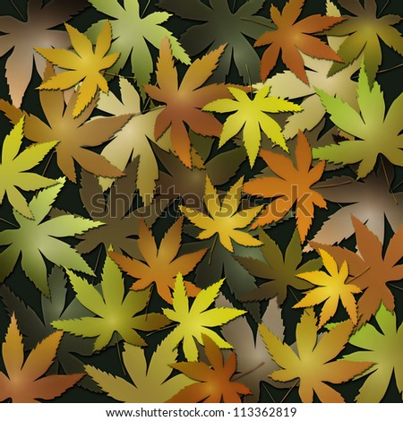 Background of autumn leaves in orange and red - stock photo