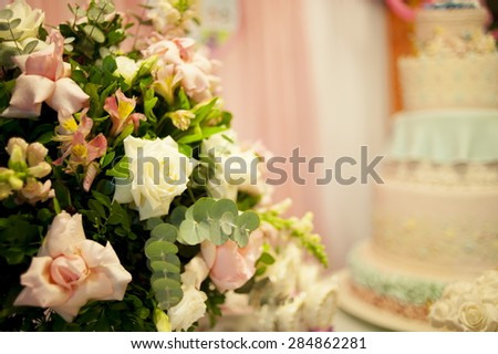 Background of birthday party flower decorative - stock photo