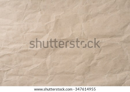 Background of blank brown wrinkled paper texture  - stock photo