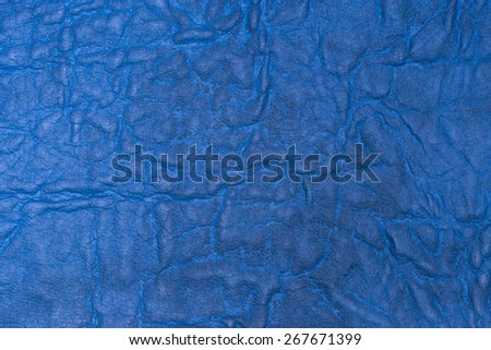 background of blue artificial leather - stock photo
