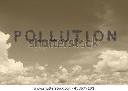 background of  blue sky with pollution cloud text - stock photo
