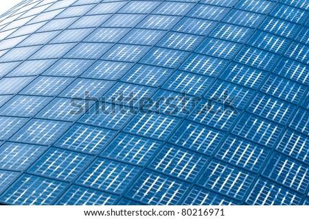background of Blue solar panels - stock photo