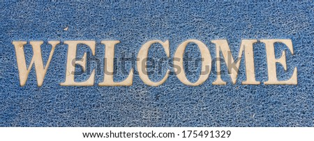 background of blue welcome carpet