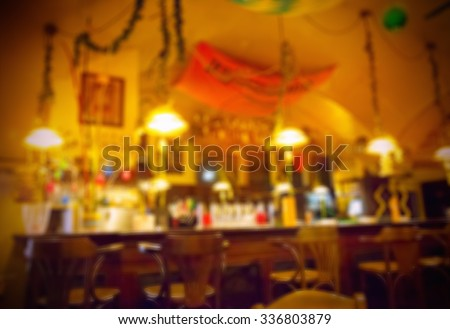 Background of blurred cafe - stock photo