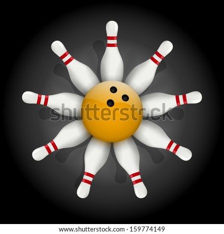 Background of bowling pins and ball with a flower. Illustration of sports competitions.