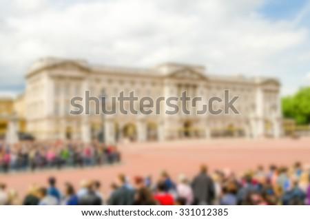 Background of Buckingham Palace, London, UK. Intentionally blurred post production. - stock photo