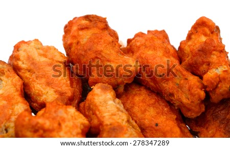 background of buffalo chicken wings isolated on white