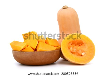 background of butternut squash isolated on white  - stock photo