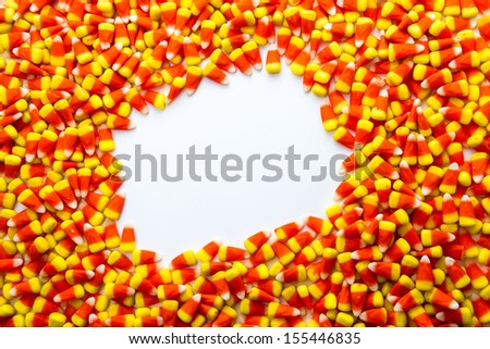 Background of candy with white square - stock photo