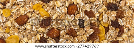 Background of Cereal Muesli. Selective focus. - stock photo