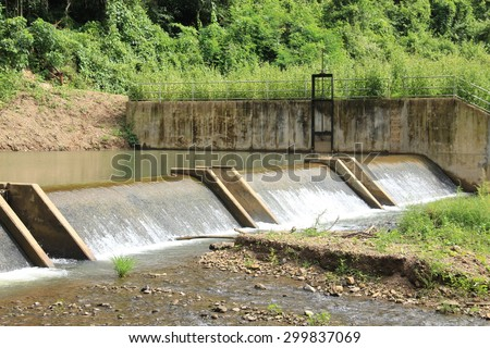background of check dam in thailand - stock photo
