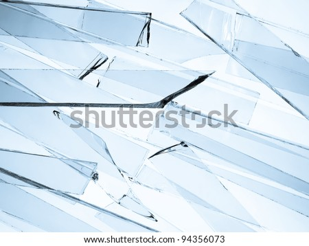 Background of clear broken glass - stock photo