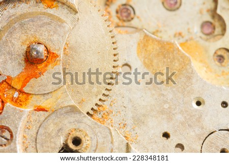 background of clockwork  of  rusty brass  vintage clock - stock photo