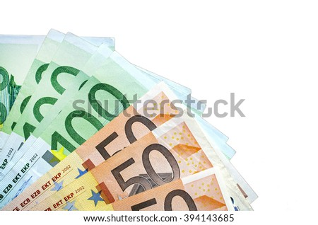 Background of close up Isolated euro  currency