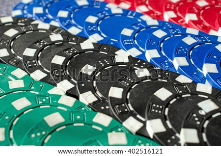 Background of Close up of different poker chips