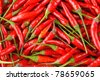 background of closeup red hot peppers - stock photo