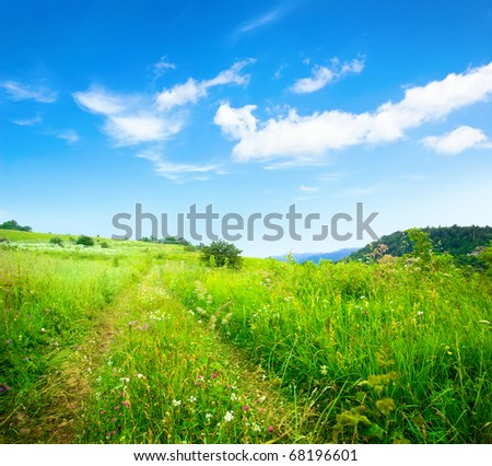 background of cloudy sky and grass - stock photo