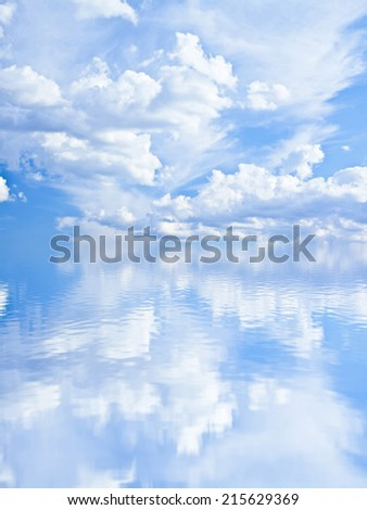 Background of cloudy summer windy sky and blue sea water with reflection texture backdrop - stock photo