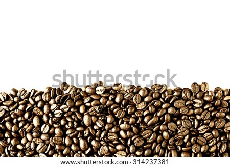 background of coffee beans with copy-space - stock photo