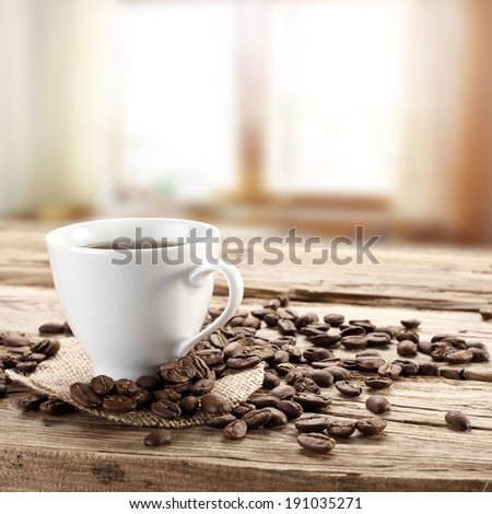 background of coffee window desk and beans  - stock photo
