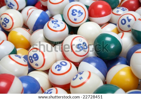 Background of colored bingo balls set closeup - stock photo