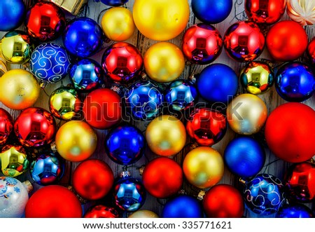 Background of colored Christmas tree balls and decorations