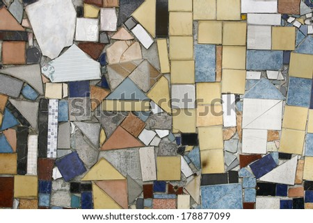 Background of Colored Mosaic with Old Broken Tiles - stock photo