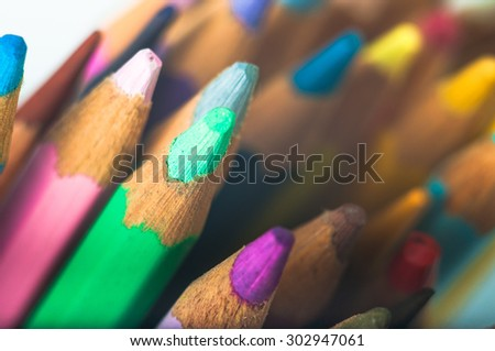 Background of colored pencils, graphite pencils