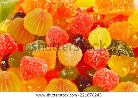 Background of colorful candies and jujube close up - stock photo