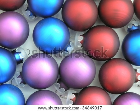 background of colorful Christmas tree ornaments - stock photo