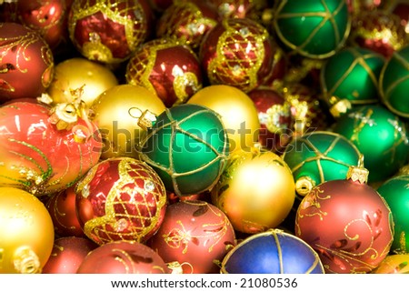 Background of colorful fir tree toy balls making up heap