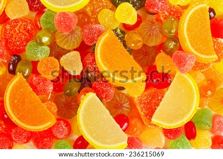 Background of colorful fruity jujube and sweets close up - stock photo